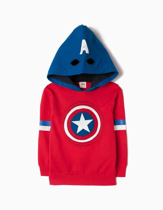 Sweatshirt com Capuz-Máscara Captain America