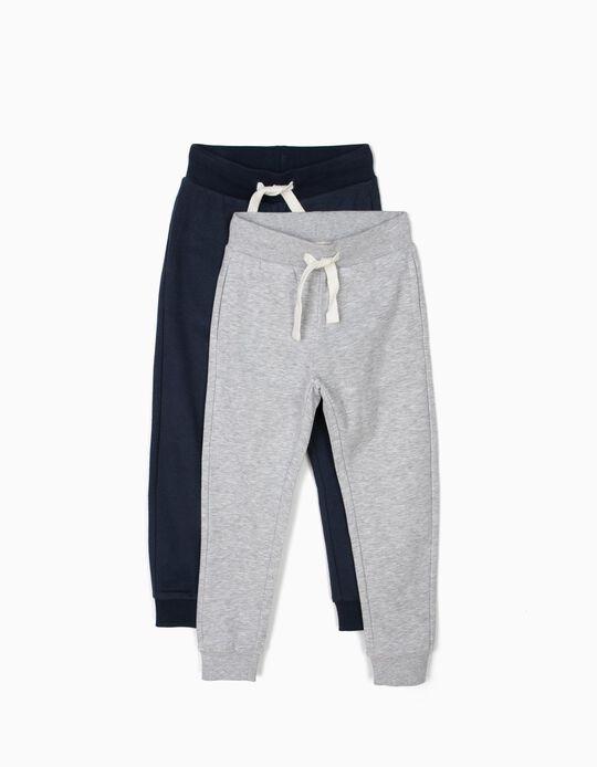 2 Pantalones de Chándal para Niño, Azul y Gris