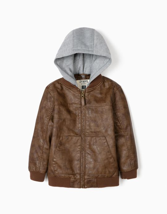 Hooded Biker Jacket for Boys, Brown/Grey