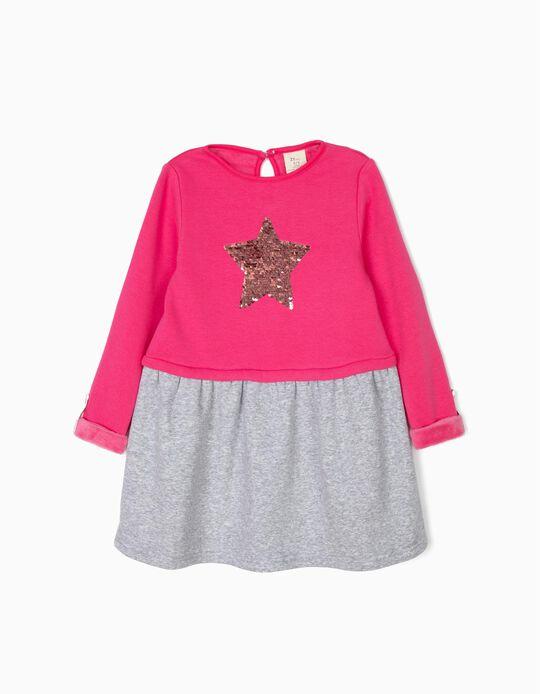 Vestido para Menina 'Star' com Lantejoulas Reversíveis, Rosa e Cinza