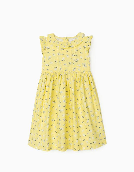 Floral Dress for Girls, Yellow