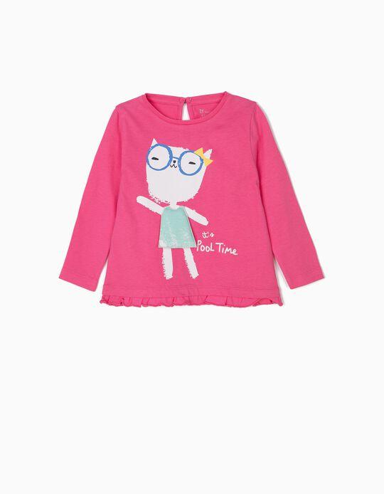 Camiseta de Manga Larga para Bebé Niña 'Pool Time', Rosa