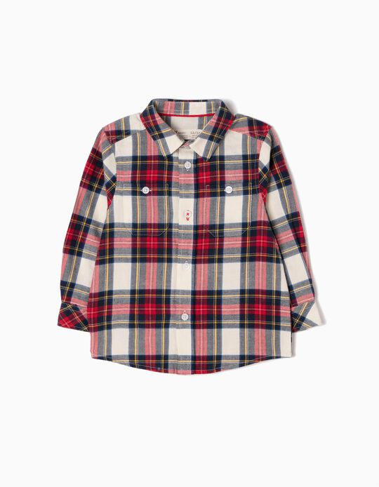 Camisa Bebé Niño Franela Ajedrez Rojo