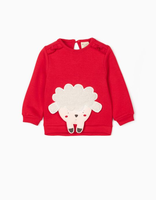 Sweatshirt for Baby Girls 'Sheep', Red