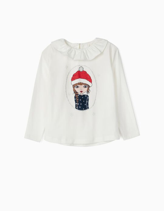 Long Sleeve To for Girls, 'Christmas Girl', White