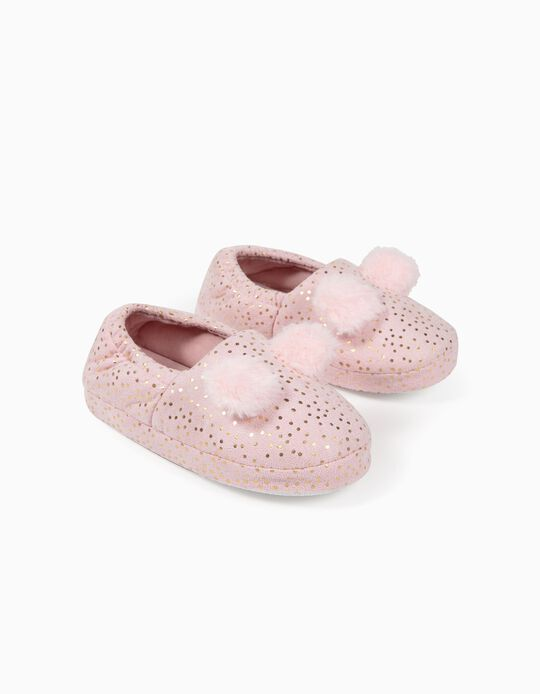 Slippers for Girls, 'Dots', Pink/Gold
