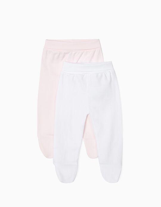 Pack 2 Pantalones con Pies para Recién Nacida, Blanco y Rosa