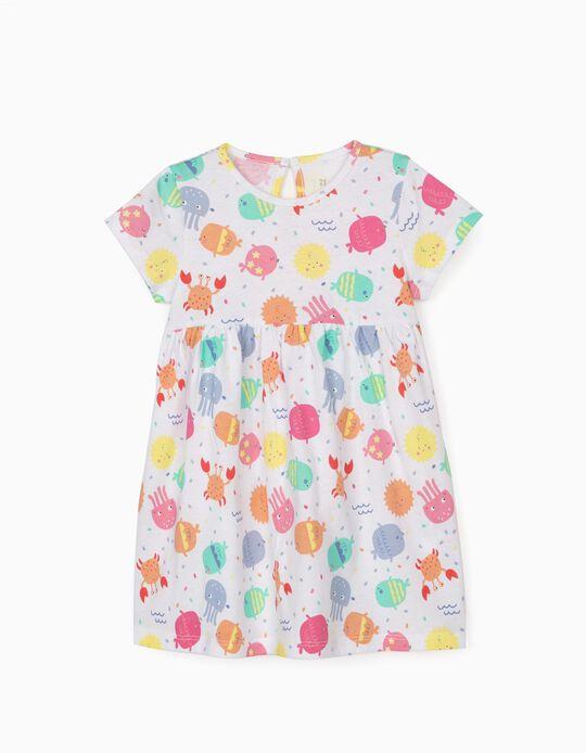 Vestido Jersey para Bebé Menina 'Sea Animals', Branco