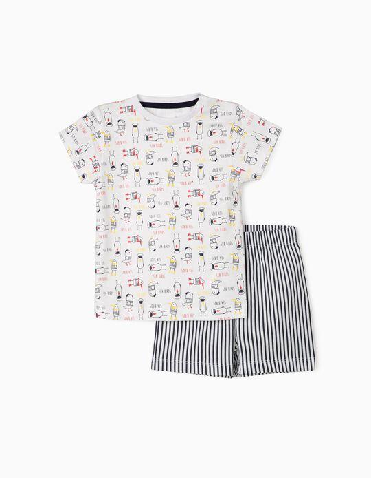 Pyjamas for Baby Boys, 'Sea Birds', White/Dark Blue