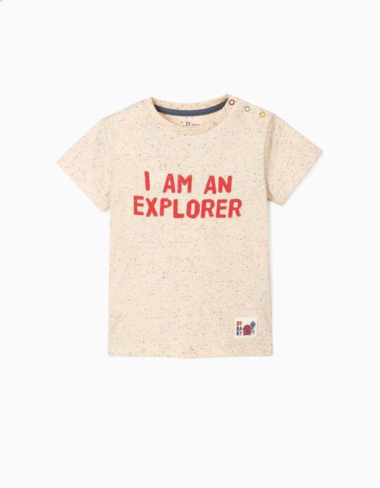 T-shirt para Bebé Menino 'Explorer', Bege
