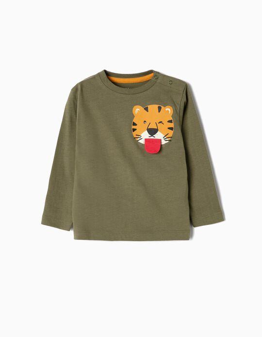 Camiseta de Manga Larga para Bebé Niño 'Cool Tiger', Verde