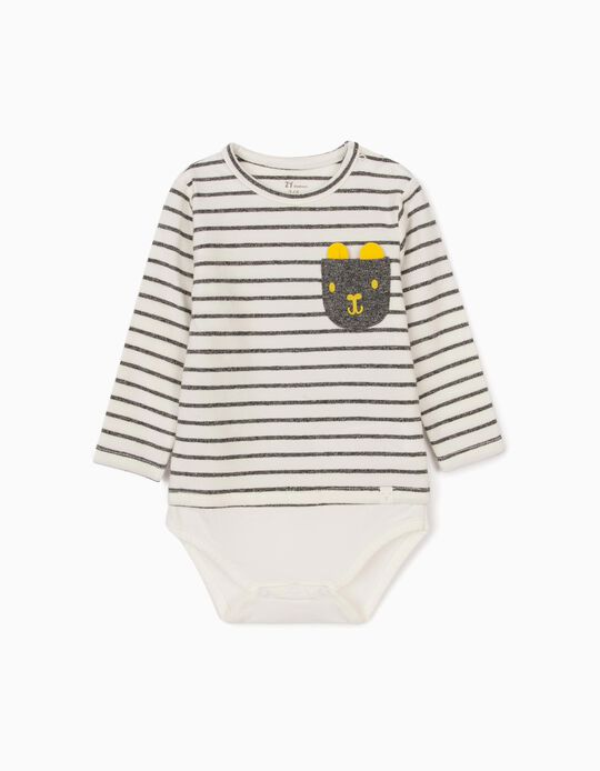 Striped Bodysuit for Newborn Baby Boys, White