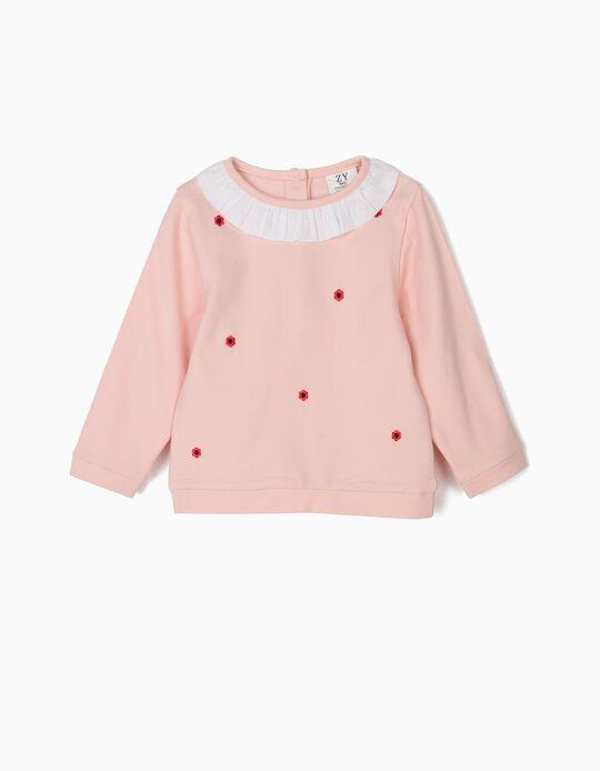 Sweatshirt para Bebé Menina com Flores Bordadas, Rosa