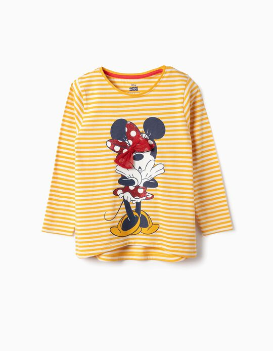 Long-sleeve Top for Girls 'Minnie', Yellow/White