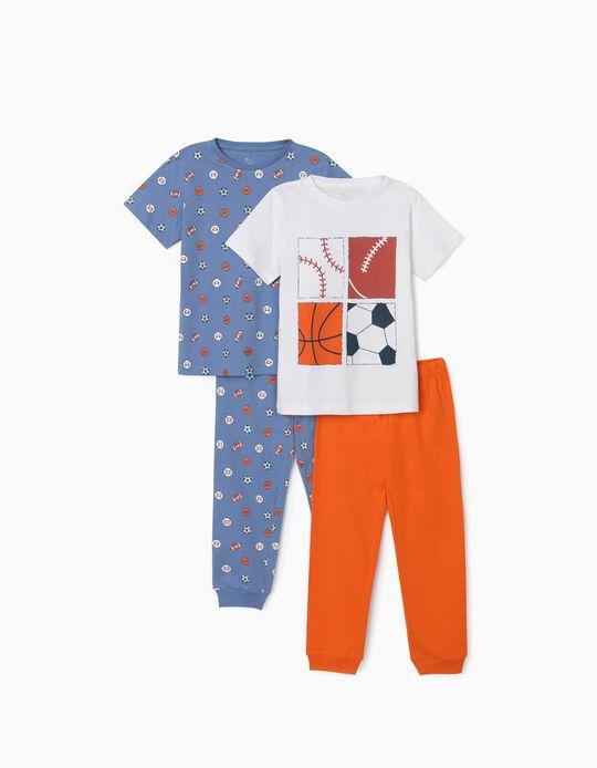 2 Short Sleeve Pyjamas for Boys, 'Sports', Blue/White/Orange