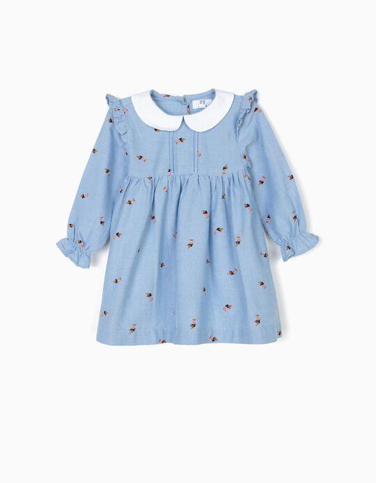 Vestido con Cubrepañal para Bebé Niña 'Dogs', Azul
