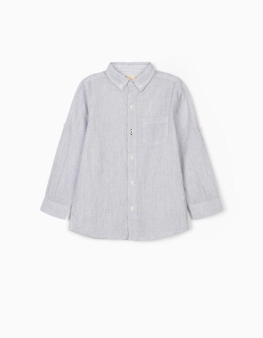 Camisa Riscas para Menino, Azul