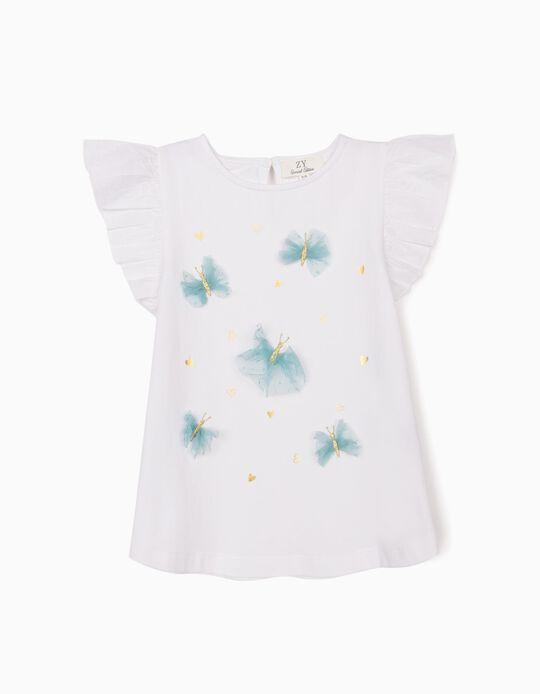 Camiseta para Niña 'Butterflies', Blanca