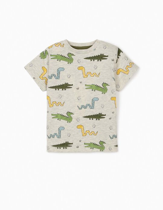 T-shirt for Baby Boys, 'Wild Animals', Marl Grey
