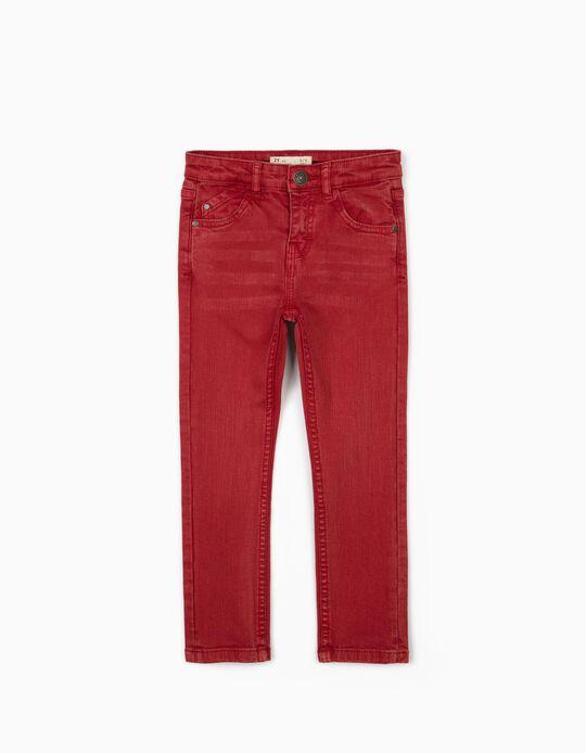 Pantalón de Sarga para Niño 'Skinny Fit', Rojo