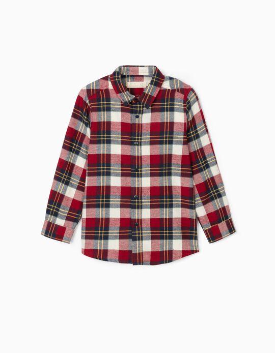 Plaid Flannel Shirt for Boys, Multicoloured