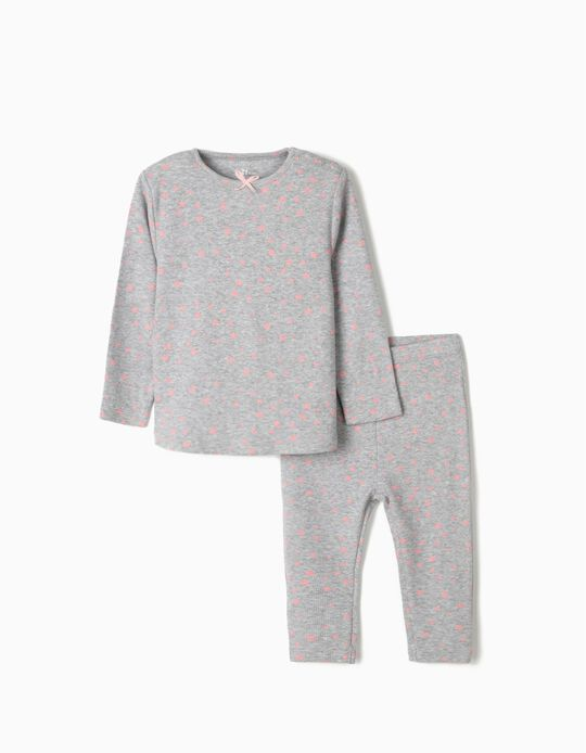 Rib Knit Pyjamas for Baby Girls, 'Stars', Grey/Pink