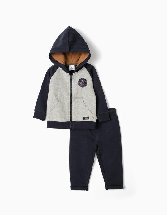 Fato de Treino para Bebé Menino 'Nature Life', Azul Escuro/Cinza