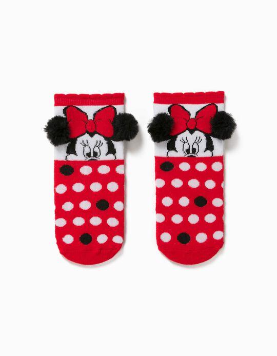 Calcetines Antideslizantes para Niña 'Minnie', Rojo/Blanco