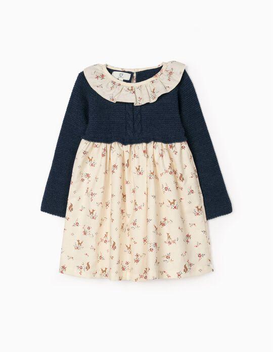 Vestido De Dos Materias Para Bebé Niña, Azul/Beige