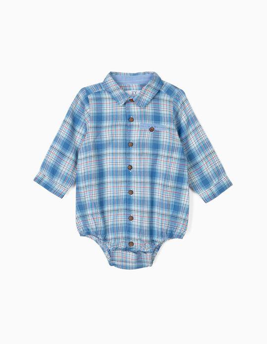 Body-Camisa para Recém-Nascido Xadrez, Azul
