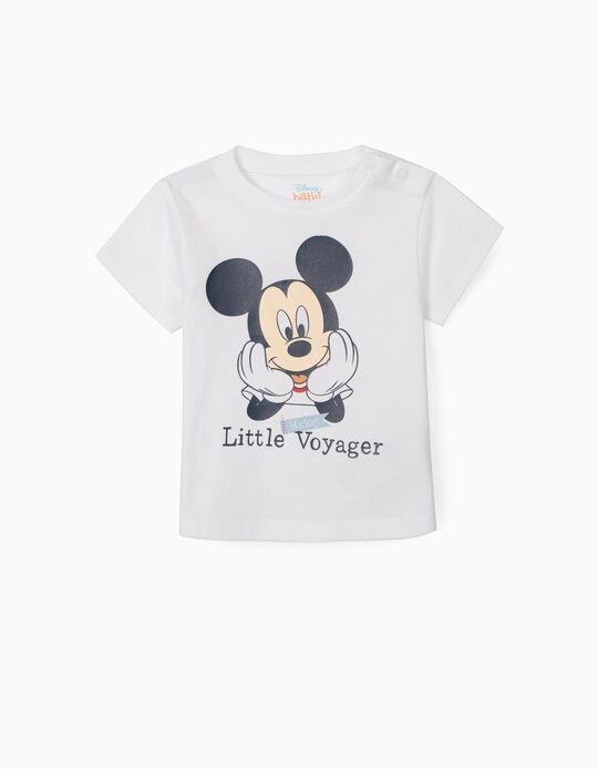 T-shirt nouveau-né 'Mickey Voyager', blanc