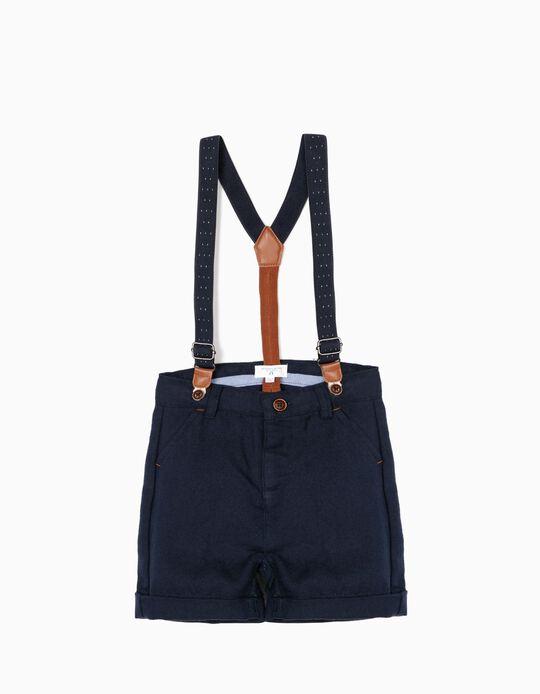 Shorts con Tirantes para Bebé Niño 'B&S', Azul Oscuro