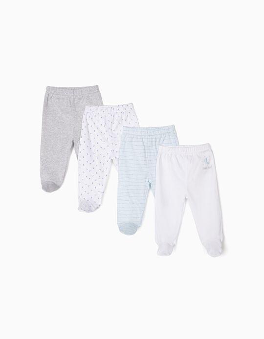 4 Pantalones para Recién Nacido 'Sleep Tight', Azul, Blanco y Gris