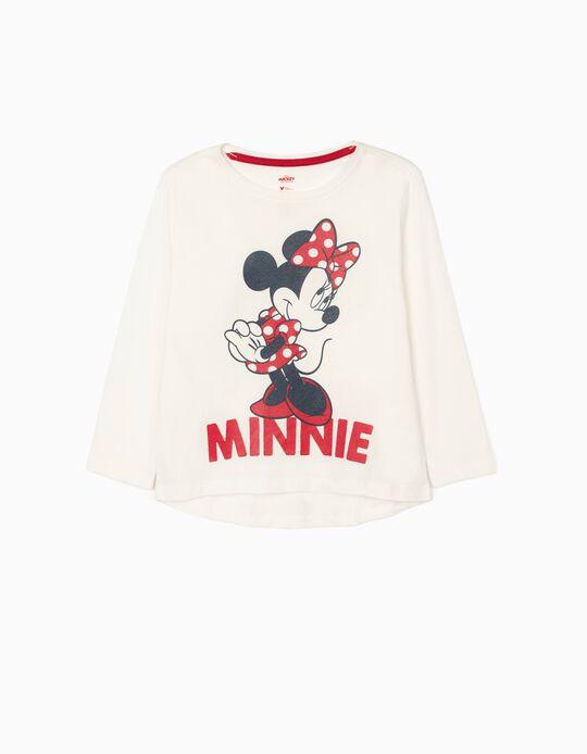 Camiseta de Manga Larga para Niña 'Minnie', Blanca