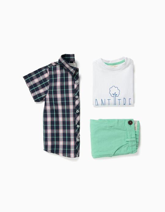 Shirt, T-shirt and Shorts for Baby Boys 'Plant Trees', Blue/Green