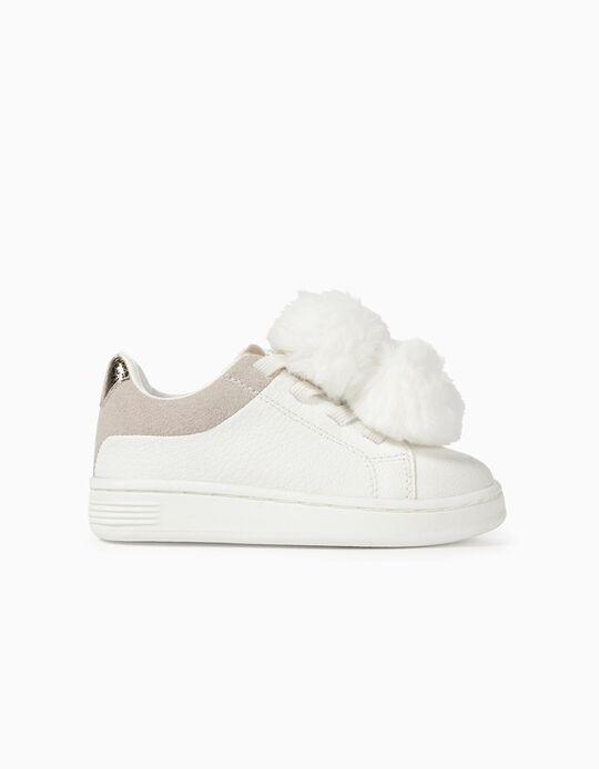 Zapatillas para Bebé Niña con Pompones, Blancas