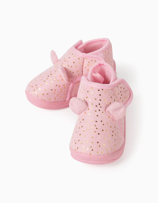 Slippers for Baby Girls, 'Dots', Pink/Gold