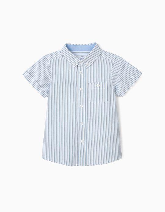Camisa para Bebé Niño a Rayas Verticales, Blanca y Azul