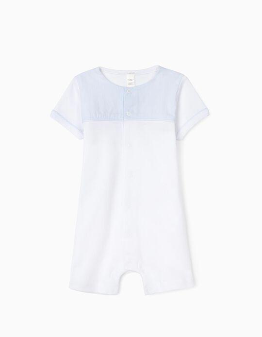 Jumpsuit for Newborn Baby Boys, White/Blue
