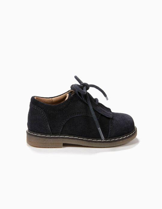 Zapatos de Ante Azules con Flecos
