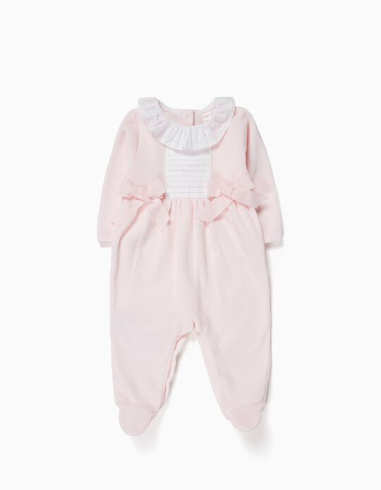 Velvet Sleepsuit with Two Bows for Newborn