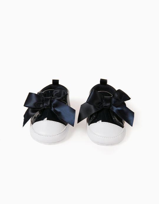 Sapatilhas de Verniz para Recém-Nascida, Azul Escuro