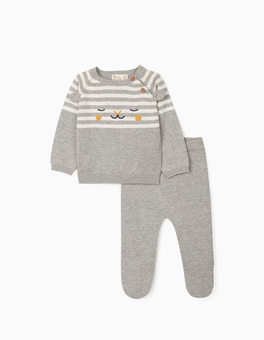 Jersey + Pantalón de Punto para Recién Nacido, Gris