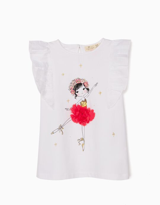 T-shirt for Girls, 'Ballerina', White