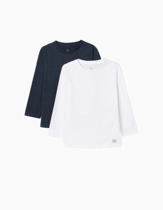 2 T-Shirts Unis Manches Longues Garçon, Blanc/Bleu Foncé