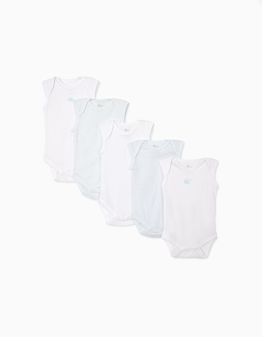 5-Pack Sleeveless Bodysuits for Baby Boys 'Fish', White and Blue