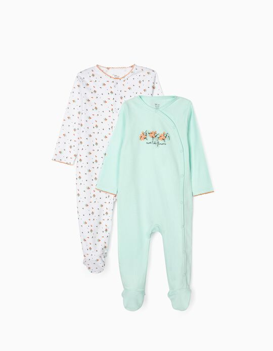 2 Sleepsuits for Baby Girls 'Flowers', Blue/White