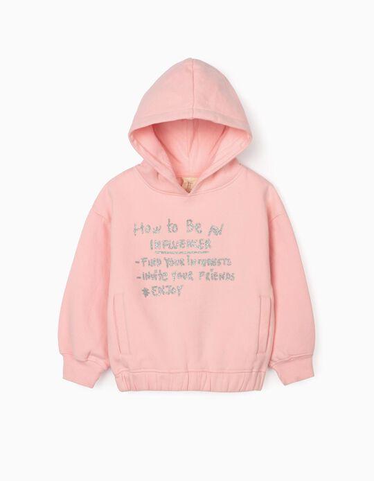 Hooded Sweatshirt for Girls 'Influencer', Pink