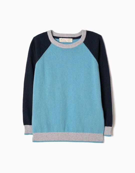 Camisola de Malha Tricolor Azul Clara