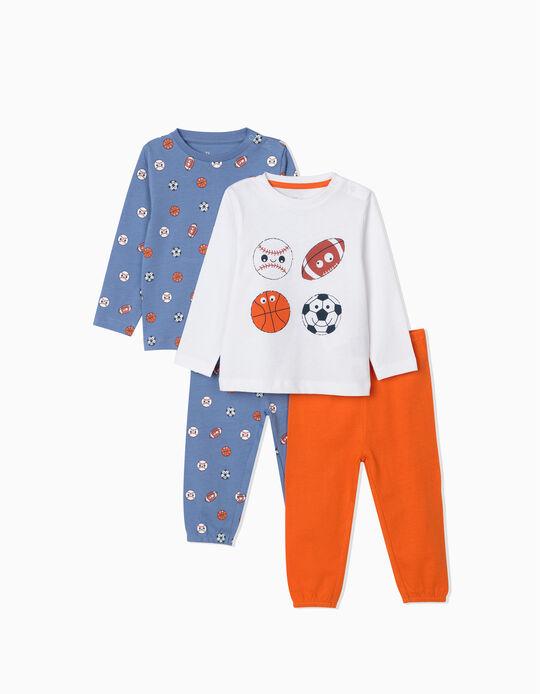 2 Pijamas Manga Larga para Bebé Niño 'Sports', Azul/Blanco/Naranja
